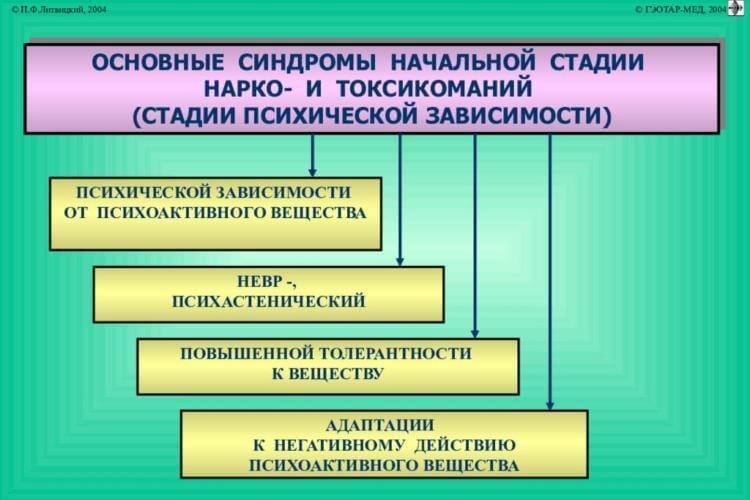 Стадии развития токсикомании